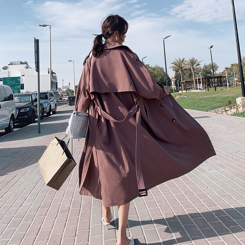 2019 Spring Classic Sashes Long   Trench   Coat For Women Loose Windbreaker Female Overcoat Autumn Double Breasted Coat v779