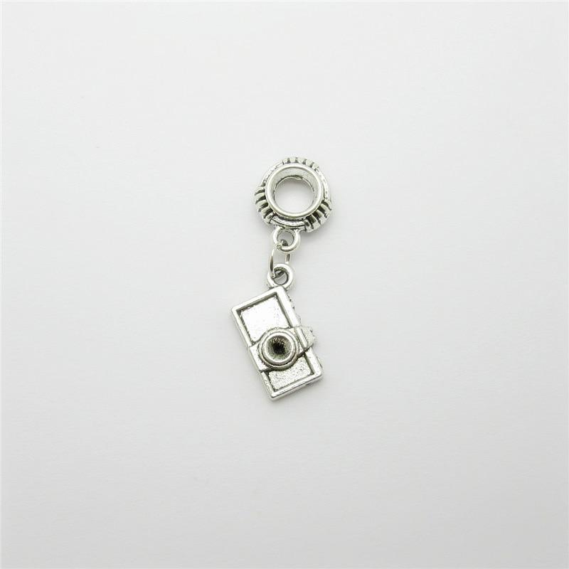 Ancient silver 20pcs camera charms big hole loose bead fit Pandora bracelet pendants DIY