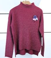 High Grade Cashmere Wool Clip Bright Lines Women S Fashion Pullover Sweater Half High Collar M