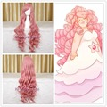 free shipping 95cm long steven universe rose quartz cosplay wig pink curly hair full wigs+a wig cap