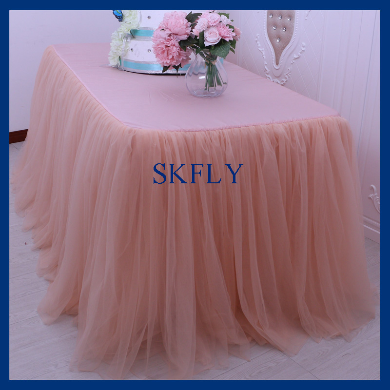 SK005F Nice New Standard 6ft Rectangle Banquet Elegant Puffy Tutu Wedding  Peach Tulle Table Cloth With Top In Tablecloths From Home U0026 Garden On ...