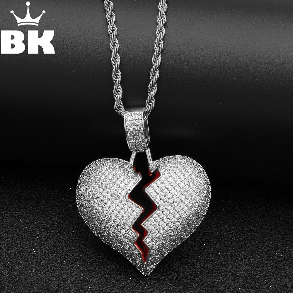 El BLING KING roto corazón CZ colgante Cadena de tenis helado Cubic Zirconia oro plata hombres Hiphop joyería para regalo