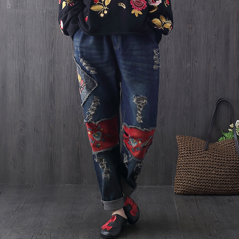 2017 Hot Sale Women's Ripped Hole Jeans Fashion Elastic Waist Jeans For Woman Denim Pants Vintage Flowers Embroidery Trousers wi fi роутер tp link td w8961n