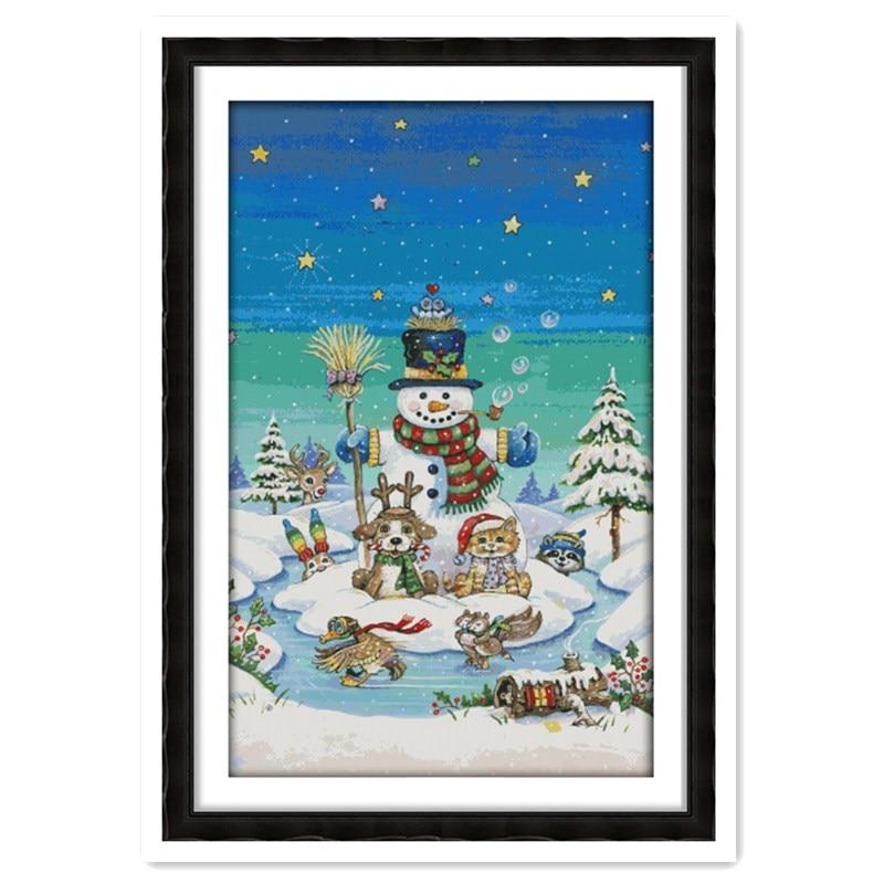 Bonhomme de neige décor à la maison chinois compté point de croix modèles Kit kits-pour-broderie 11CT 14CT couture dmc broderie soie