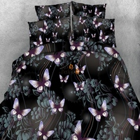 New Special Creative Bedding Set Without Filler Pink Butterfly Design Quilt Cover Set 3pcs Twin Full