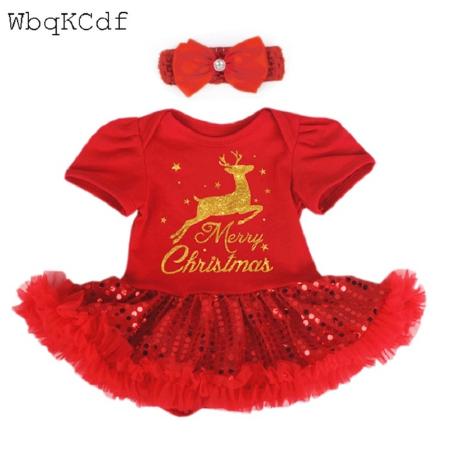 fce105f84fc5 Christmas Baby Rompers Costumes For Girl Santa Claus Baby Outfits ...