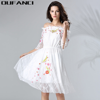 OUFANCI Brand Lace Dress Solid Vintage Off Shoulder Half Sleeve Dresses 2017 Summer Sexy Embroidery Dresses for women large Size