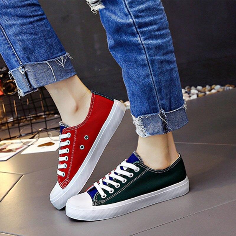 137c7e78e Lzzf 2018 корейские весенние Повседневное плоской подошве парусиновая  женская обувь на платформе белые кроссовки обувь женщина