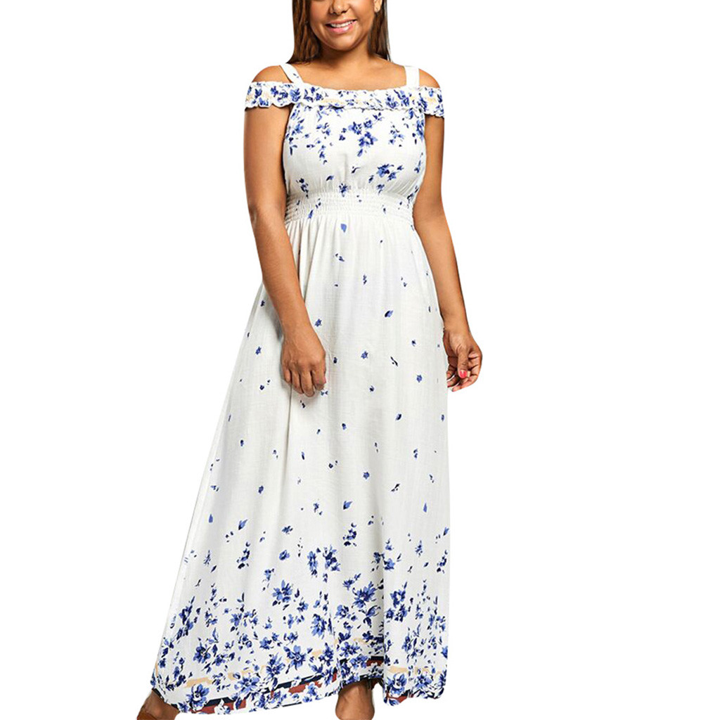 <font><b>Vestido</b></font> <font><b>Mujer</b></font> <font><b>Verano</b></font> Oversized Dress <font><b>2019</b></font> <font><b>Vestido</b></font> Blanco <font><b>Largo</b></font> Summer Womens Fashion Casual Bohemian Print Slash Neck Dress Z4 image