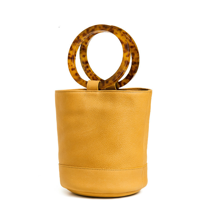Telastar Bucket Bag Small Round Totes Women Summer Handbag Circle Barrel shaped Bag Acrylic Handle