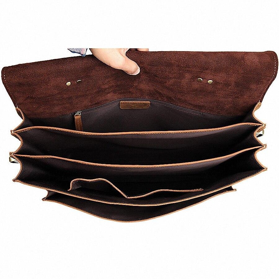 Винтажный кожаный мужской портфель Crazy Horse, сумка для ноутбука, деловая сумка, мужской портфель из натуральной кожи, мужская сумка через плеч... - 5