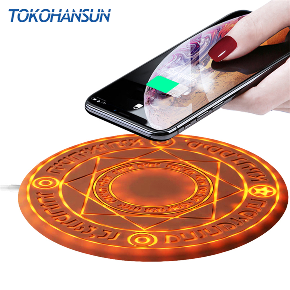 TOKOHANSUN 10W Magic Array Wireless Charger Universal QI Wireless Fast Charger Charging Pad For iPhone 8 X XS Max XR Samsung