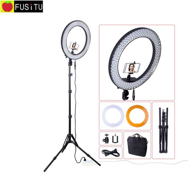 RL188 5500K 240 LED Photographic Lighting Dimmable Camera Photo/Studio/Phone/Video/Makeup Photography Ring Light Lamp + tripod