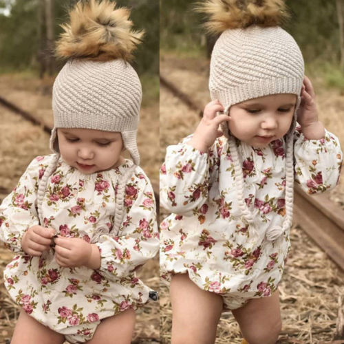 2018 New Long Sleeves Newborn Infant Baby Girls   Rompers   Floral Baby Girls Jumpsuit Playsuit Flower Clothing For Girls