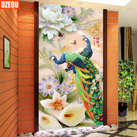 UzeQu 5D DIY Diamond Painting Cross Stitch Peony Flower Peacock Diamond Embroidery Full Round Diamond Mosaic