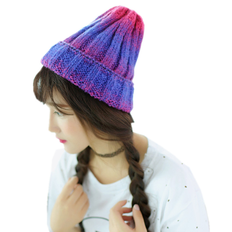 New Fashion Fall Winter Hats Gradient Color Knitted Hats For Women Skullies Caps Knit Cap Crimping Beanie Female Warm Hat CP056 calling system for restaurant 1 cashier board screen 3 waiter pager 50 table buzzers wireless equipment