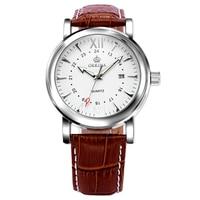 ORKINA Ladies Casual Classical Dress Fashion Wrist Watch Elegant Brown Genuine Leather Classy New Date Display