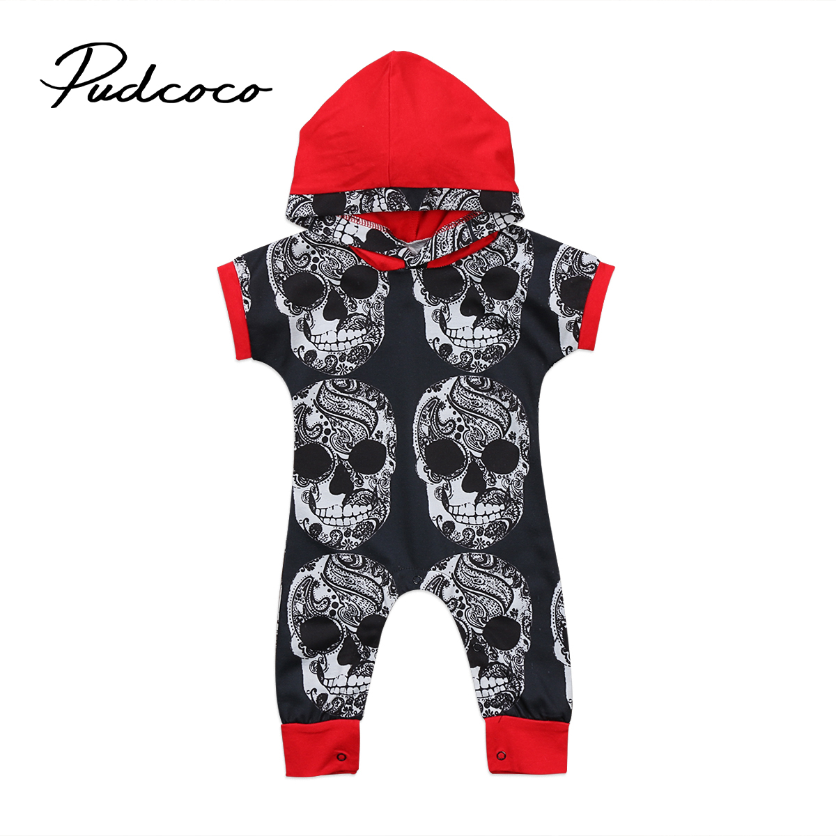 Pudcoco Toddler Kids Baby Boy Halloween Hooded Short Sleeve Pullovers Covered-Button Romper Jumpsuit Outfits Clothes