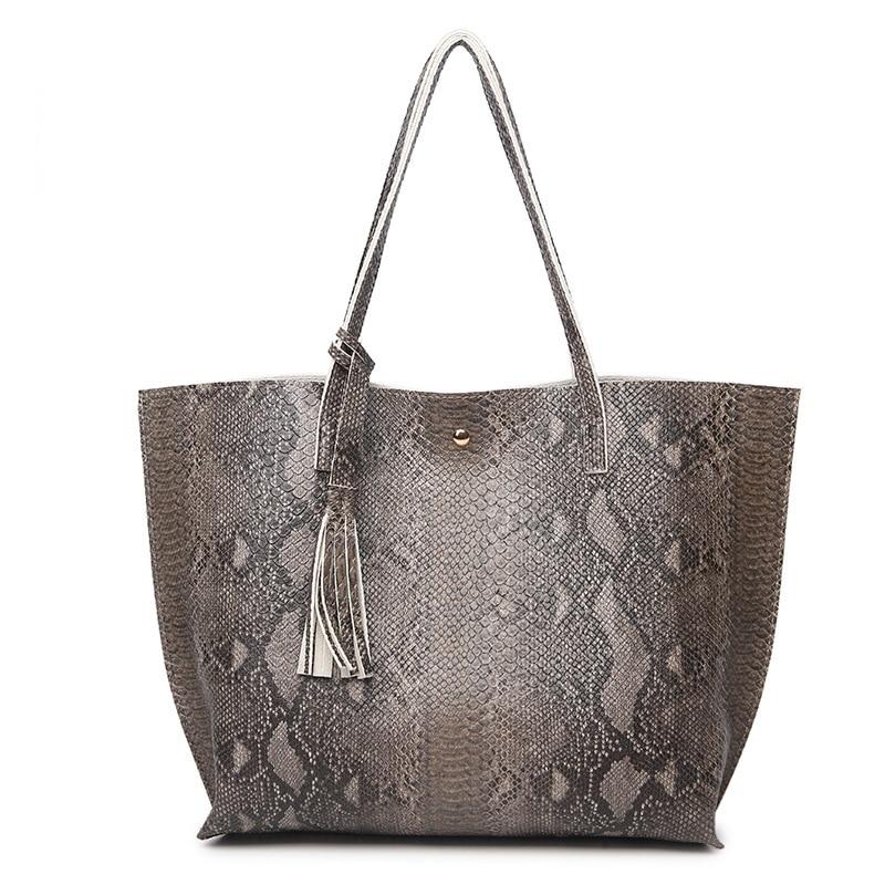 Big Tote Bags For Women Handbag Snake Skin Printed Shoulder Bag Ladies Serpentine Pattern Leather Bucket Bag Bolsa Feminina