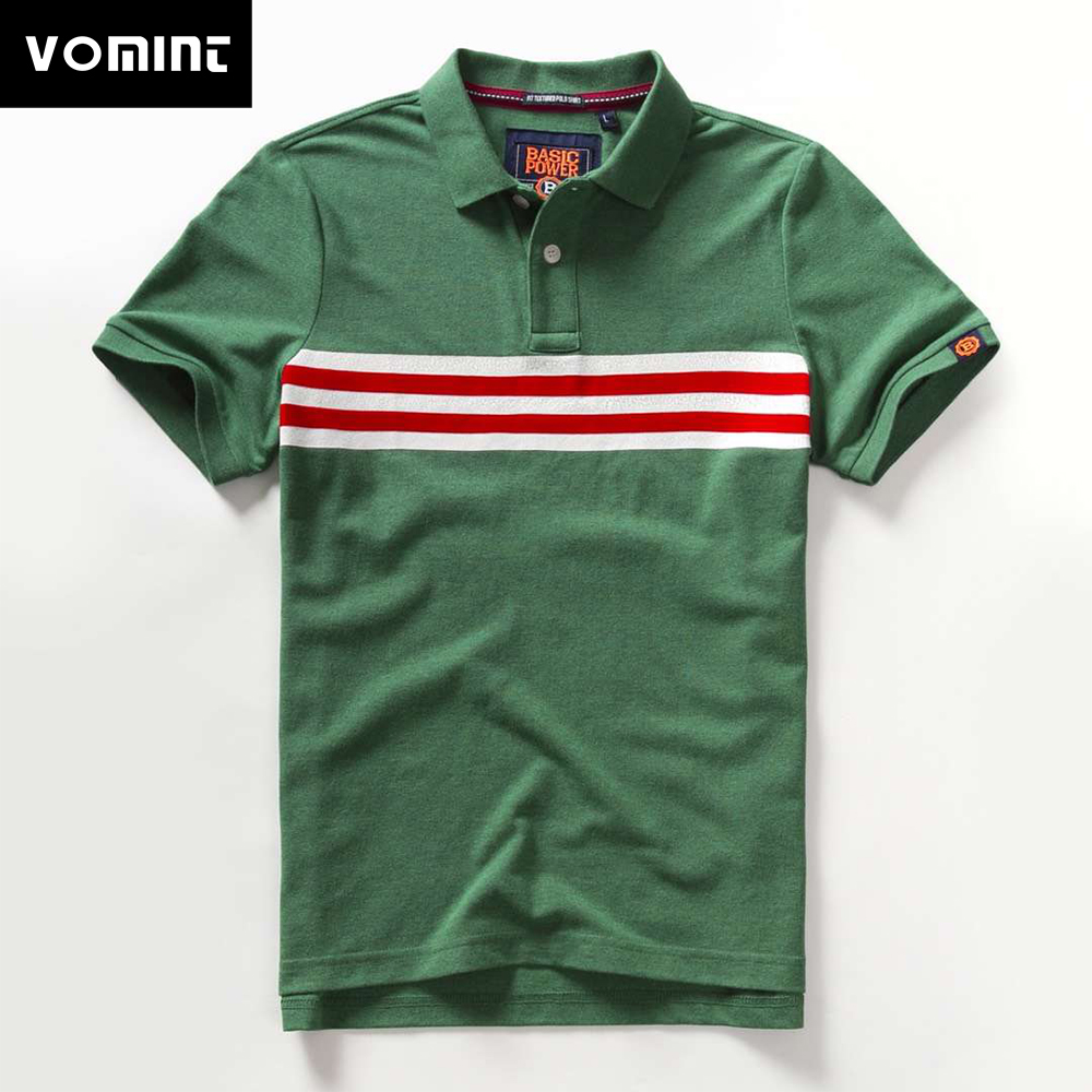 Vomint 2019 Summer New Mens Cotton   Polo   Shirts Short Sleeve Three Letter Embroidered Emblem Solid Color shirts for Male BP6906