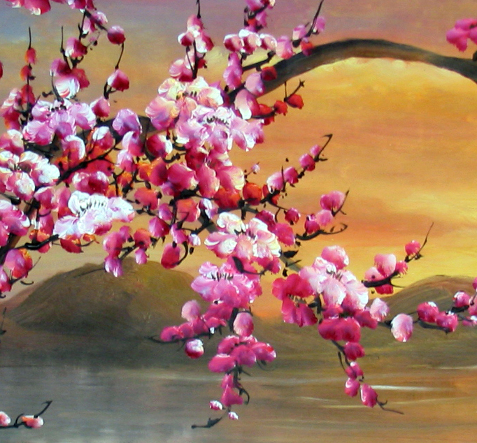 Japanese Cherry Blossom Painting Abstract Art On Canvas 1 In Calligraphy From Home Garden Aliexpress