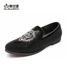 OLEBURGH Casual Loafers Men Moccasins Flats Footwear Luxury Shoes Slip On Glitters Bling Embroidery Man Shoes Size 38-45
