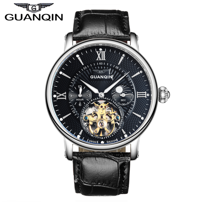 ФОТО GUANQIN GJ16036 Top Brand Luxury Men Sport Tourbillon Automatic Mechanical Leather Wristwatch Moon Phase relogio masculino