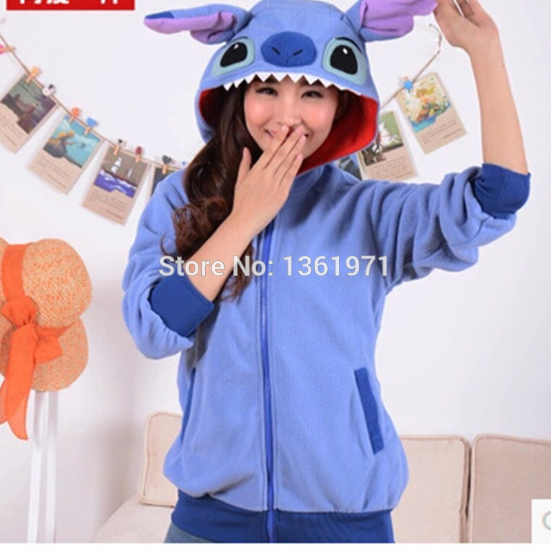 HKSNG Autumn Winter Women Blue Pink Stitch Hoodies With Ear Cartoon Animal Plus Size Warm Fleece Cosplay Coat Sweatshirts