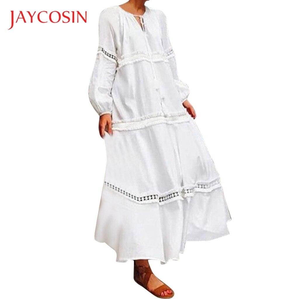 JAYCOSIN Vintage dress Women Plus Size 5XL Dress girl Bohemian Solid Lace Crochet Short Sleeve Loose long maxi Dress vestidos