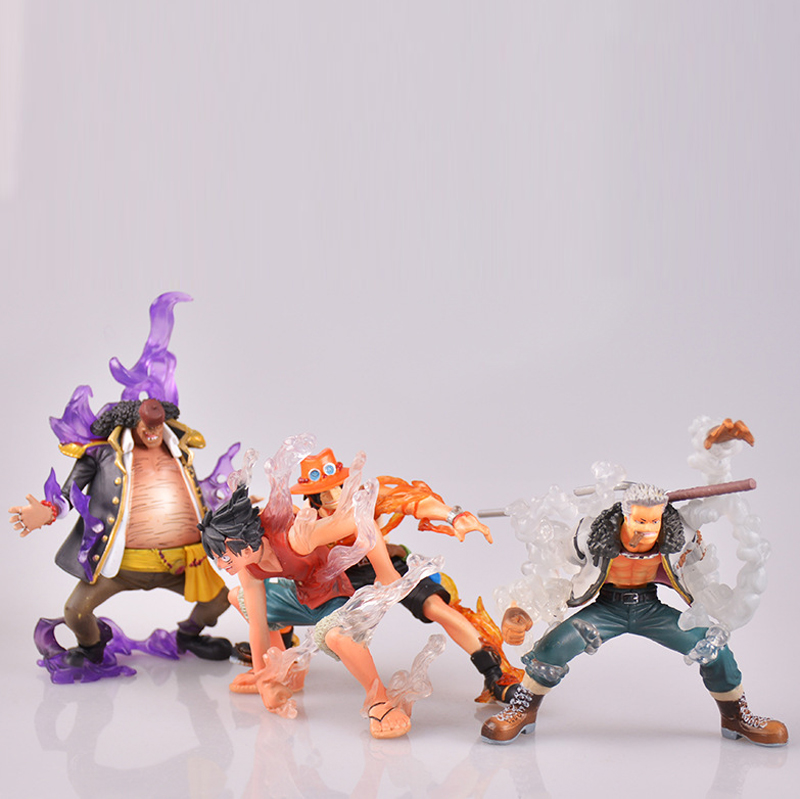 Free Shipping 4pcs One Piece Anime Luffy Ace Smoker Marshall Teach Boxed 13cm PVC Action Figure Collection Model Doll Toys Gift anime one piece fire fist ace handsome model garage kit pvc action figure classic collection toy doll