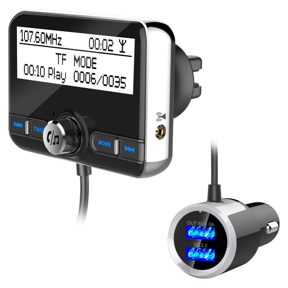 Universal Car DAB Radio Receiver Tuner FM Transmitter Plug-and-Play DAB Adaptor USB Charger 5V/2.1A QC3.0 Version 4.2+EDR image