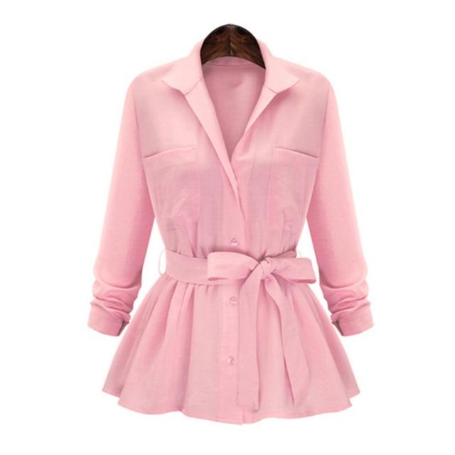 Plus Size 2017 Autumn New Women Blouse Vintage Elegant Slim Pocket Long Sleeve Womens Shirt OL Officewear Tops With Belt S~5XL