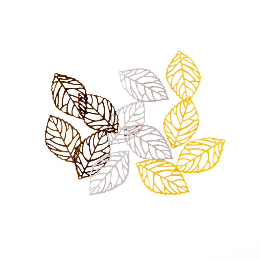 Free shipping Retail 20Pcs Bronze/Gold/Silver Filigree Leaf Metal Crafts Decoration DIY Findings 35x20mm
