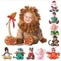 Divertido Anmial Ropa Mamelucos Del Bebé Trajes de Dinosaurios Para Niños Bebés Niñas de Una pieza Del Niño Del Bebé Ropa de Halloween Cos-play