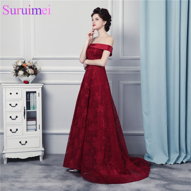 16c62c9d3ca High Quality Lace Evening Gown Corset Lace Up Wine Red Lace Burgundy Prom  Dresses Off Shoulder Formal Women Dresses Vestidos De