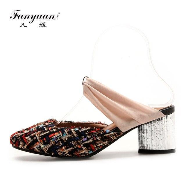 2ea672c9422 Fanyuan 2018 Novas Senhoras Da Moda Mulas Sapatos Cores Misturadas Dedo Do  Pé Redondo vestido Sapatos