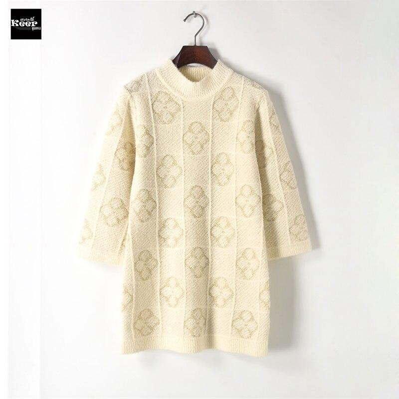 2018 New Autumn Winter Plaid Basic Knitted Sweater Dresses Women Elegant Gold Clover Knit Casual Dress Autumn Knitwear Vestidos