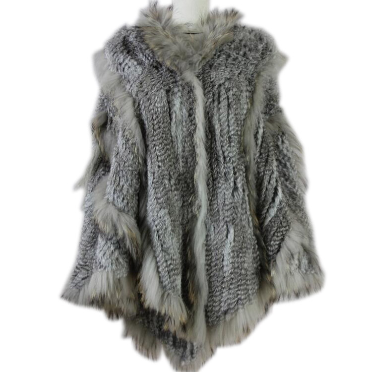 2019 Russische Europea Mode Warme Damen Große Kaninchen Fell Poncho Mit Kapuze Marderhund Pelz Trimmen Große Kapuze Cape Schal