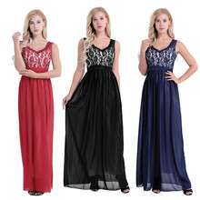 Women Ladies Elegant Sleeveless V Neck Chiffon Bridesmaid Dress Embroidered Lace Floral Backless Formal Long Wedding Party Dress