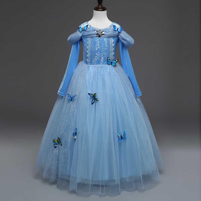 Yeni Bebek Kız Anna Elsa Elbise Yüksek Dereceli Payetli Prenses Külkedisi Fantezi çocuk giysileri Parti Kostüm Için Kar Kraliçesi cosplay