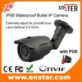 720P 1.0MP HD IP66 Waterproof Metal Bullet IP Camera 42PCS LEDs 40M IR Range Varifocal 2.8-12mm CCTV Security System POE ip cam