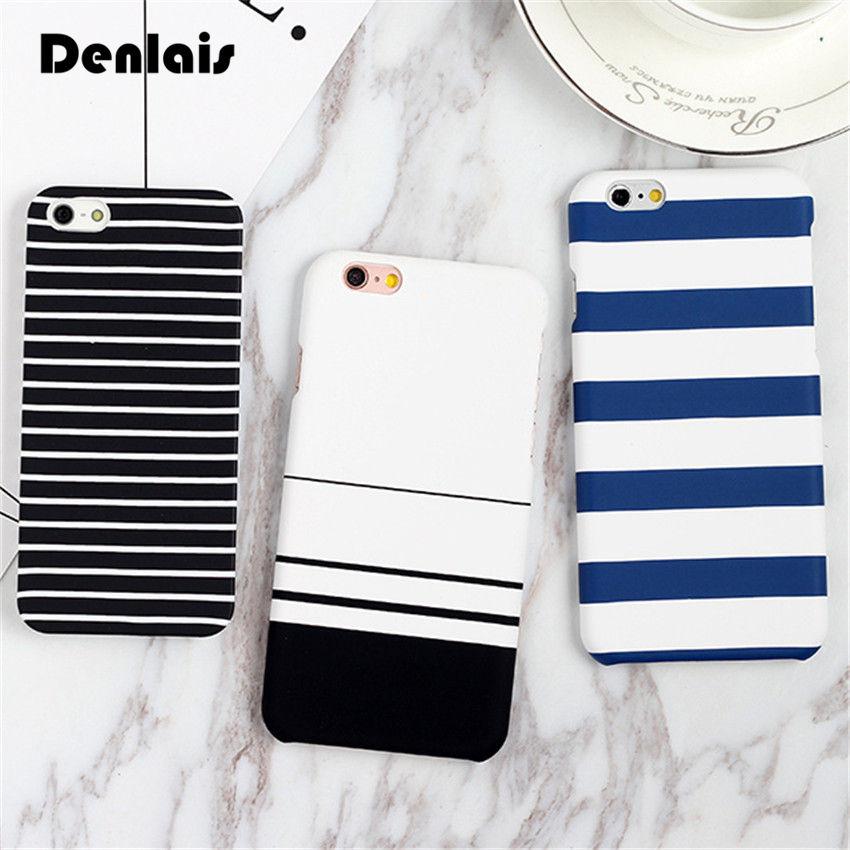 Mode Bleu Bande Cas Pour iPhone X 8 7 7 Plus le Cas Noir Blanc bande Patined Couverture Rigide Cas de Téléphone Pour iPhone 5 5S 6 6 S 6 Plus