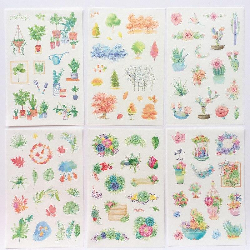 6 Pcs/pack Fresh Green Cactus Succulent Plants Forest Decorative Stationery Stickers Scrapbooking DIY Diary Album Stick Label