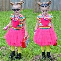 & E-babe & Hurtownie Europejski styl lato ubrania dla dzieci berbeć dziewczyny rainbow paski krótki rękaw tulle Miłość wzór sukienka