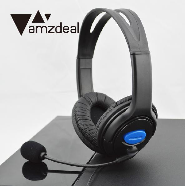 amzdeal New Gamer Headset Wired Chat Gaming Stereo Headset Headphone Earphone For Sony for PS4 W/MIC Superbass Hi-Fi Black rock y10 stereo headphone earphone microphone stereo bass wired headset for music computer game with mic