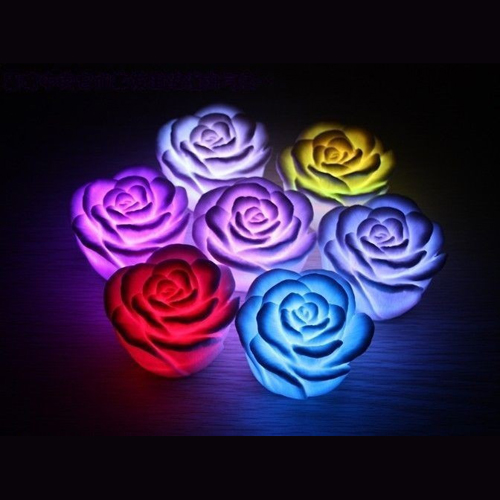 New 7Color Romantic Changing LED Floating Rose Flower Candle Night Light