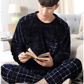 Coral Fleece Men Pajamas Flannel Sleepwear Set Man Plus Size Pajamas Homewear Warm Nighties Plaid Stripped Men Sleep Lounge 270