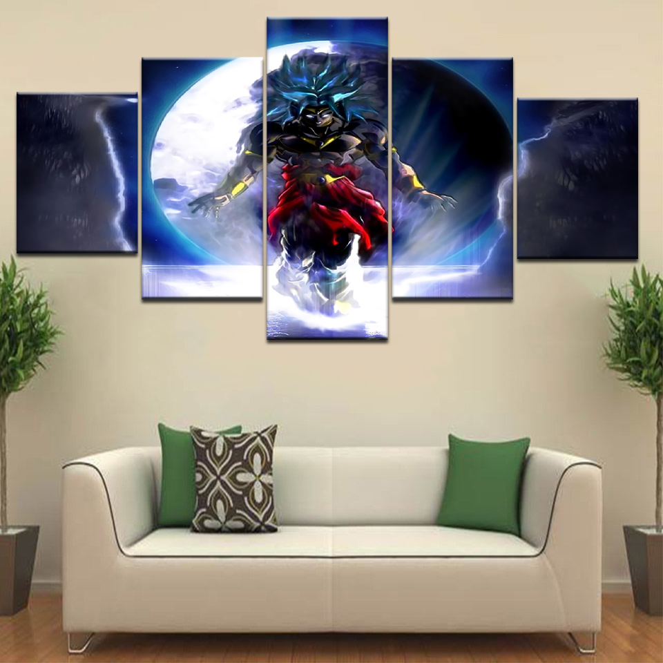 5 Panel / stuk HD Print Cuadros De Dragon Ball Z en moderne muur - Huisdecoratie