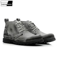 New Hot Sale Men Shoes Real Leather Lace Up For Men Motorcycle Boots Anti Skid Comfort Retro Ankle Boots Gray Free Shipping