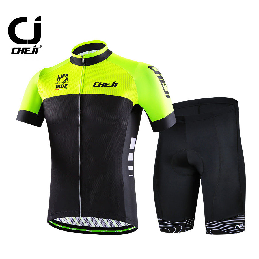 Cheji Men's Cycling Kits Bike Jersey & Padded Shorts Cycle Wear Set High Visibility Men's Bicycle MTB Clothing Fluorescent Green